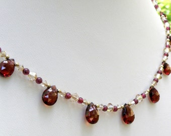 Red Garnet Necklace, Gold Filled, January Birthstone, Birthday Handmade Christmas Jewelry, Gemstone Luxe High End Valentine's Day Gift