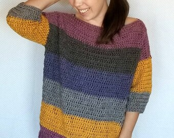 Crochet Sweater PATTERN - Easy Crochet Pattern - Caron Cake Pattern - Crochet Top Pattern