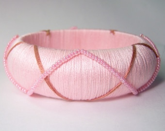 Pretty Pink Beaded Bangle