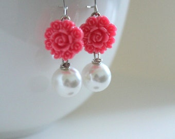 Hot Pink Earrings, Bridesmaid Jewelry, Pink Flowers, Pink Wedding, Spring Earrings, Flower Jewelry, Girlfriend Gift, New Mom Gift