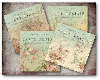 Floral Carte Postale Cards Digital Collage Sheet Download -372- Digital Paper - Instant Download Printables
