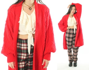 90s Long Cardigan Sweater Red Knit Shawl Collar Slouchy Chunky Vinntage 1990s Large L XL Side Effects