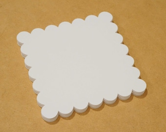 square cardstock - Free Shipping - 20 blank white drawing paper cards with scalloped edges handmade advice cards craft wedding art supplies