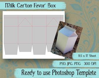 "Digital Template: ""Milk Carton"" DIY Digital Milk Carton Favor Box Photoshop Template Party Favor Crafting Supplies"