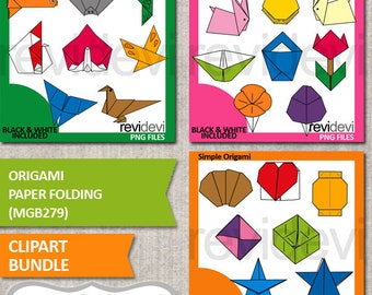 Origami clipart bundle sale, Japanese art of paper folding clip art, commercial use, hobby paper craft clipart digital images.