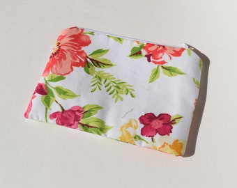 Pretty Floral Makeup Bag, Zippered Pouch, Cosmetic Bag, Mother's Day Gift, Gift for her