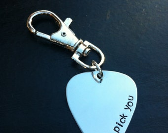 Guitar Pick Key Chain. Hand Stamped- I pick you