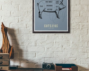 Cuts of KC Kansas City Butcher Shop Print - KC BBQ Poster - Also Available in Royals and Chiefs Colors