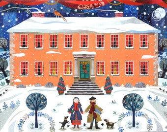 Wordsworth Christmas Card - Traditional Snow Scene - Writers' Houses - Naive Art - Holiday - Christmas - Children - Collage - Art Card