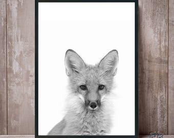 Fox print, Black and white, Fox wall art, Woodland nursery, Fox art, Nursery wall art, Woodland animals, Nursery decor,  Fox art print, Fox