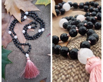 Japa Mala 108 beads; 6 mm Black Agate and 9mm Rose Quartz beads. Hand Knotted