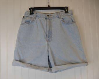 High Waisted Shorts, 90s Light Wash Denim Cuffed Short, Women's Size 14, Hunt Club, Distressed Grunge