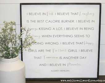 I believe in pink, I believe that happy girls are the prettiest girls, Audrey Hepburn quote, 2' x 2', girls room decor, teen girls room art