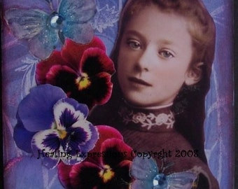 BECOMING HERSELF altered art collage therapy recovery ACEo ATc PRiNT