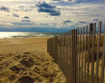 Summer decor, beach photography, seaside, Jersey Shore, New Jersey, sand dunes, ocean photograph, tan, azure, moody, solitude, meditation