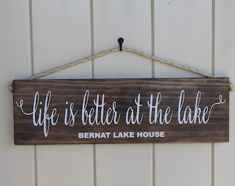 Lake Sign/Life Is Better At The Lake/Rustic Lake House Sign/Unique Lake House Sign/Lake House Gift/Personalized Lake House Sign/Porch Sign