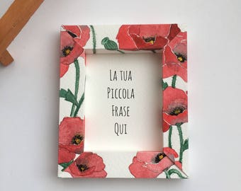Poppies frame magnet, watercolor card, with small personalized message 9, 5x8