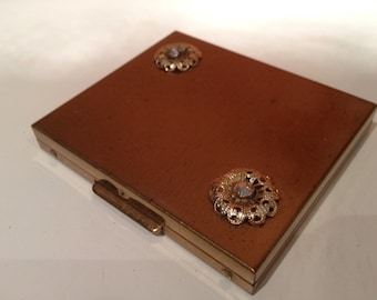 Vintage Goldtone Compact with Diamond Look Jewels on Top with Mirror and Puff (No Powder Left)