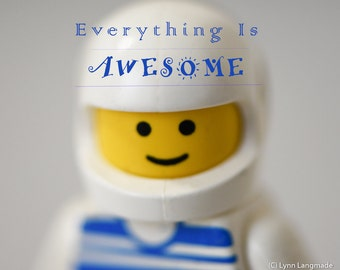 """Lego Wall Decor - lego figure astronaut typography 8x10 inspirational quote everything is awesome boy room decor blue yellow 11x14 """"Awesome"""""""