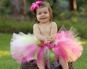 Pink Green Tutu - Girls Tutu - Strawberry Dreams with Lime - up to 10'' long - sizes Newborn to 5T