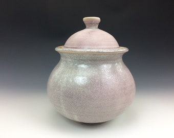 Handmade Jar - Porcelain Container - Pink -Gray - White