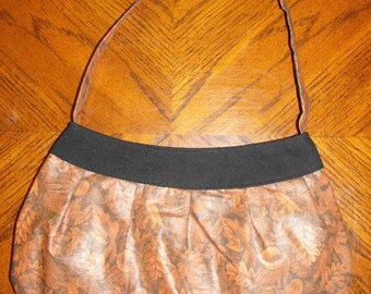 Brown Leaves Fabric Large Buttercup Bag