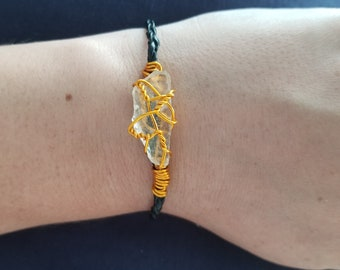 Clear sea glass with gold wrap bracelet
