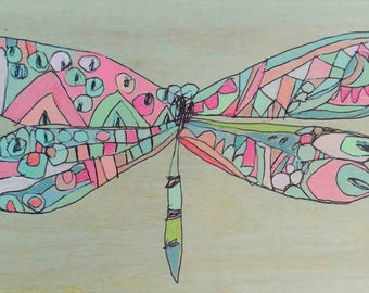 Dragonfly Jennifer Mercede painting 5x7in 'Fuzzy Fly'