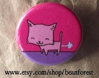 kitty farts - pinback button badge