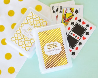 Personalized Playing Cards Black and Gold Wedding Favors Personalized Cards for Las Vegas Wedding Favors (EB2033FW) set of 18|