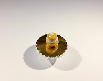 Yellow polymer clay miniature Catholic