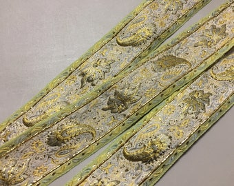 Vintage Brocade Ribbon with Paisley Pattern, made in France, Yellow, Light Green and Blue, 1 5/8 inches wide, Price is per Yard