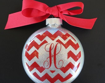 Chevron Monogram Christmas Ornament