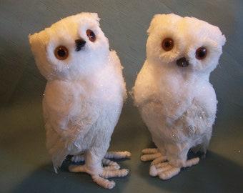 Pair of White Owl Figures