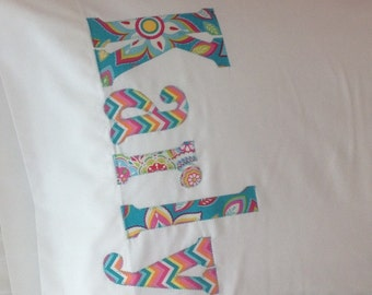 Personalized Pillowcase Name Pillow - Collage of Aqua Fabrics - Home Decor- Slumber Party - Camp - College - Travel