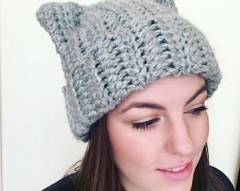 Handmade crochet cat ears hat