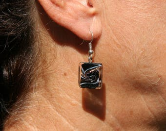Square black and gold glass earrings