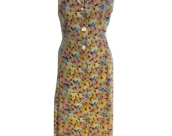 Exquisite Vintage Mulberry Floral Silk Sleeveless Dress UK 14