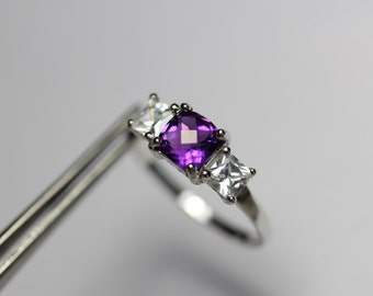 Charming Genuine Amethyst Checkerboard in a Delicate Accented Sterling Silver Setting