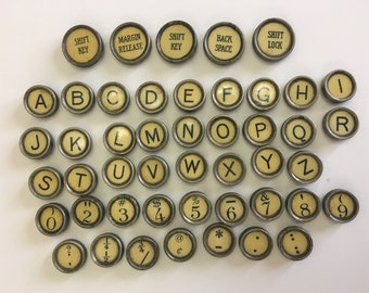 Your Choice Antique Typewriter Keys Jewelry Supplies LC Smith Authentic Vintage Yellow