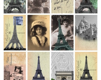 Paris Reflections Digital Collage Sheet - Altered Art - 2 x 3 Inch Rectangles - Instant Download
