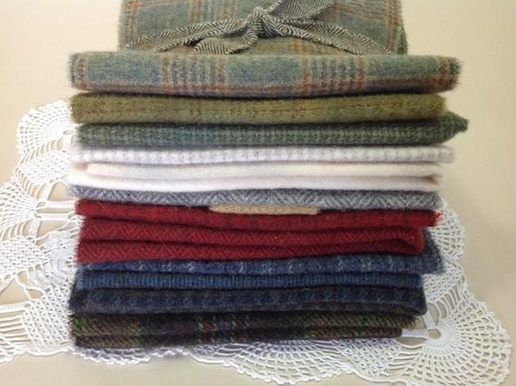 WOOL Bundle for Rug Hooking and Applique, J981, Wool Fabric Bundle, Wool Pack to Hook Winter Wonderland, Winter Colors