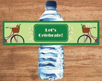 Instant Download Bike Ride Party Water Bottle Labels