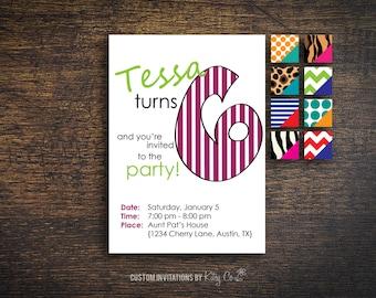 6th Birthday Invitation | Kids Birthday | Printable Digital File
