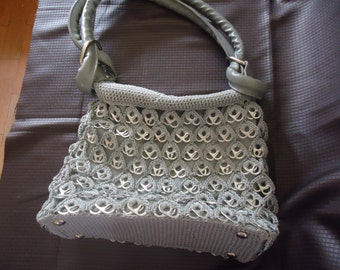 Sale Handmade Grey Soda Tabs Hobo Purse, Bag, Pop Tab Purse, EcoFriendly Hobo Bag