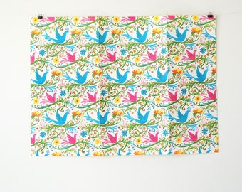 Vintage Wrapping Paper - Vintage Gift Wrap - Vintage Paper with Birds and Flowers - Vintage Gift Wrapping