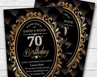 70th Birthday Invitation for Women, 70th Birthday Invitation for men, any age. Adult Birthday Invitation - Printable digital. No.121