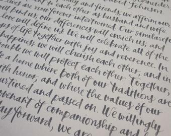 Handwritten Calligraphy Ketubah 8x10
