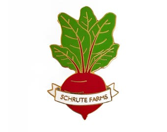 Schrute Farms Beet Enamel Pin - Dwight Schrute The Office Gold Pin