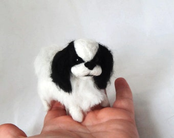 Custom Dog Sculpture,Needle Felted Dog - Japanese Chin or any breed of Cat, Dog or Horse of Your Choice Made To Order